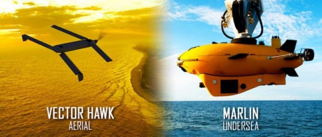 Vector Hawk and Marlin unmanned vehicles used by Lockheed Martin in a cross-domain command-and-control demonstration. Image courtesy Lockheed Martin