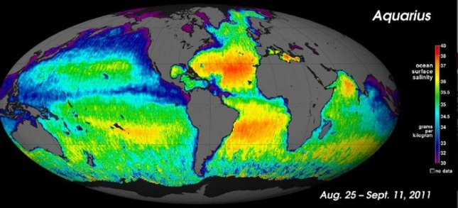 The first global map of ocean saltiness, a composite of the first two and a half weeks of data since the Aquarius instrument became operational. Credit: NASA/GSFC/JPL-Caltech