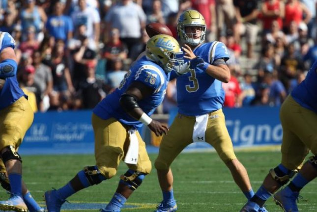 UCLA head coach Chip Kelly named Michigan transfer Wilton Speight (3) the Week 1 starting quarterback, but Speight was knocked out in the first half against Cincinnati with a back injury. Photo courtesy of UCLA Bruins Football/Twitter