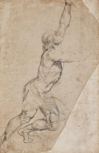 Nude Study of a Young Man With Raised Arms was a preparation drawing for a larger altarpiece called The Raising of the Cross. Image by Peter Paul Rubens/Sotheby's