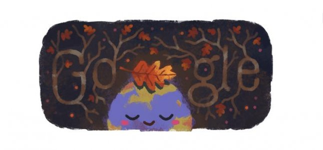 Google is marking the start of the fall solstice in the Northern Hemisphere with a new Doodle. Image courtesy of Doodle