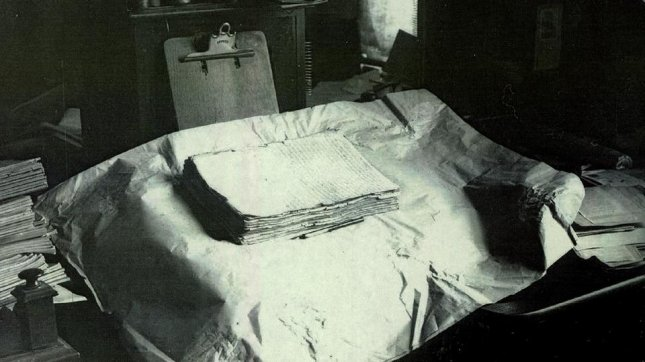 The original printer's manuscript of the Book of Mormon, in a photograph from the early 20th century. Photo courtesy of mormonnewsroom.org