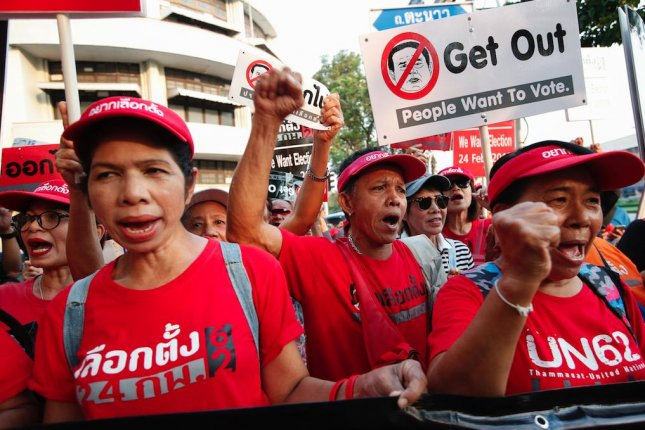 Pro-democracy demonstrators in Bangkok, Thailand, protest the postponement of a general election on Saturday. Photo by Rungroj Yongrit/EPA-EFE