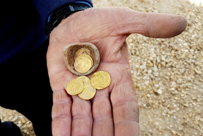 Israeli archaeologists made a rare find during Hanukkah in the discovery of 1,200-year-old gold coins at Yavne. Photo courtesy the Israel Antiquities Authority.