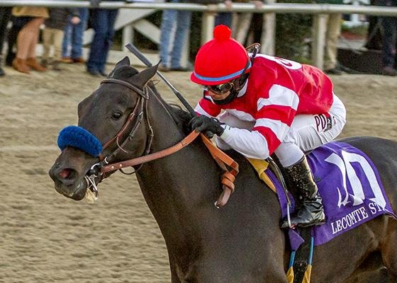 Instilled Regard, seen winning the Lecomte Stakes, can virtually lock down a Kentucky Derby berth with a win in Saturday's Risen Star at Fair Grounds. (Fair Grounds photo).
