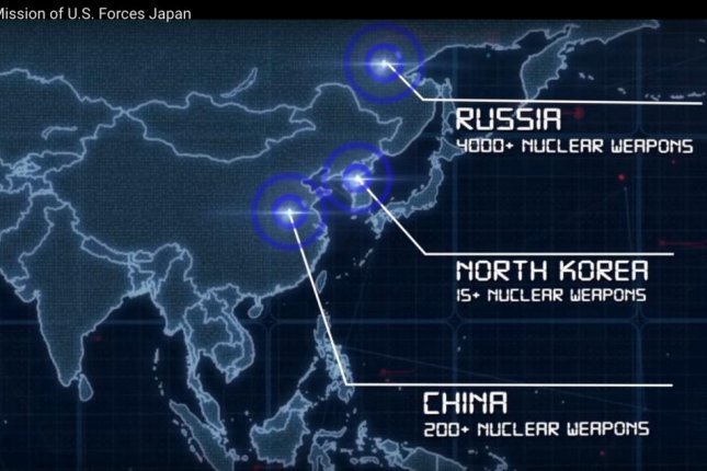 A video from U.S. Forces Japan uploaded online about a month ago shows estimates of nuclear weapons in Northeast Asia. Photo screenshot of U.S. Forces Japan video/YouTube