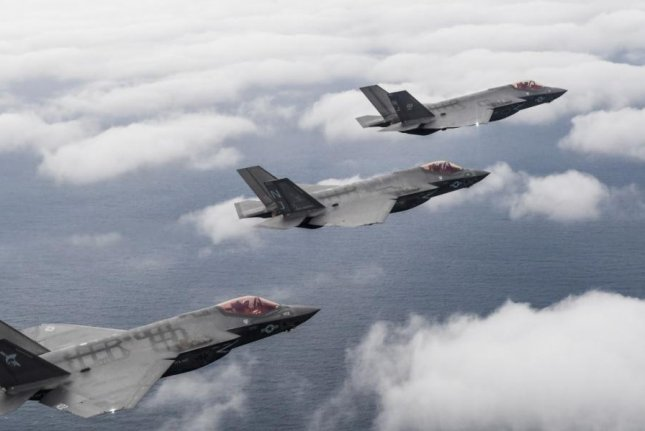 Three F-35C Lightning II aircraft attached to the Argonauts of Strike Fighter Squadron 147, the Rough Raiders of Strike Fighter Squadron 125 and the Grim Reapers of Strike Fighter Squadron complete a flight on Feb. 1 over Eglin Air Force Base in Fort Walton Beach, Fla., Feb. 1, 2019. Photo by Chief Mass Communication Spec. Shannon E. Renfroe/U.S. Navy
