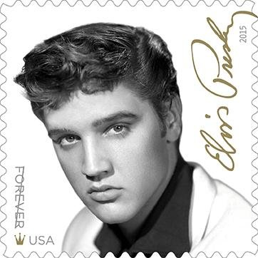 The U.S. Postal Service's new Elvis Presley stamp is black and white with gold touches. Image courtesy USPS