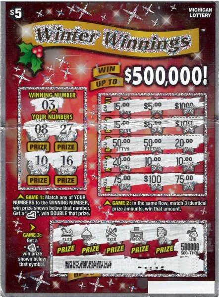 A Michigan man who wanted to buy a scratch-off lottery ticket told the clerk to pick me a winner and ended up winning $500,000. Photo courtesy of the Michigan Lottery