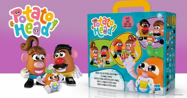 The gender-neutral Potato Head family toy pack includes two large bodies and one small body, and 42 accessories for children to play with as they choose. Photo courtesy of Hasbro