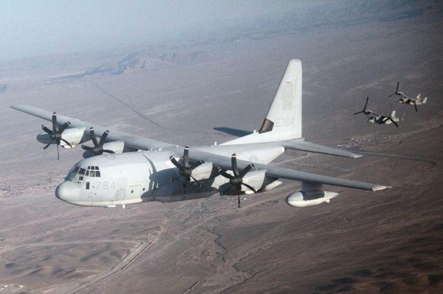 Saudi Arabia has taken delivery of two KC-130J refuelers purchased through the U.S. Foreign Military Sales program. Pictured, a KC-130J in the Middle East, trailed by tilt-rotor aircraft. U.S. Marine Corps photo by Cpl. Rashaun X. James