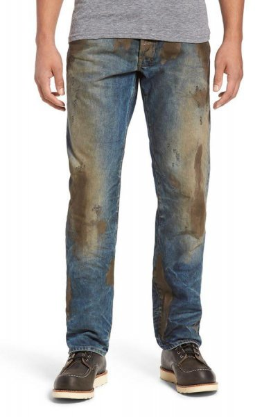 Nordstrom is selling these jeans, which come pre-covered in mud, for $425. Photo by Nordstrom.com