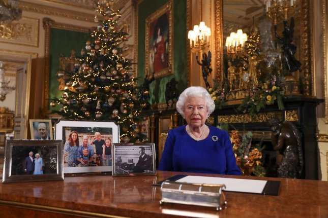 Britain's Queen Elizabeth II recording her annual Christmas broadcast in Windsor Castle, released Tuesday. Photo by Steve Parsons/EPA-EFE