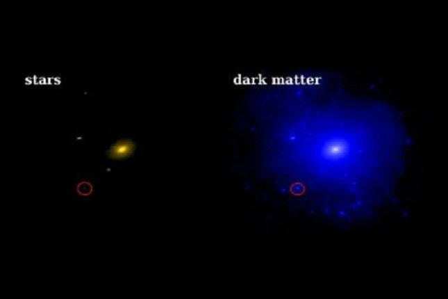 This illustration shows the ratio of visible star matter to dark matter believe to exist in the nearby dwarf galaxy Triangulum II. Photo by Caltech