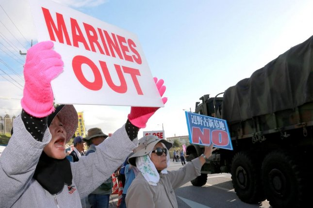 About 100 Protesters Gathered Again Outside A U S Military Base In Okinawa An As Work Began On A New U S Facility In The Henoko Area Of The Island