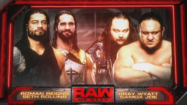 (Left to right) Roman Reigns and Seth Rollins battled Bray Wyatt and Samoa Joe in a Tag Team Match Monday on Raw before the competitors meet alongside Finn Balor at Extreme Rules to determine the No. 1 contender for Brock Lesnar's Universal Championship. Photo courtesy of WWE/Twitter
