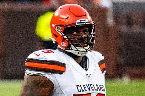 Cleveland Browns offensive lineman Gregory Robinson and one other man were arrested after they were found with 157 pounds of marijuana in a rental car in Texas. Photo by Erik Drost/Wikimedia Commons