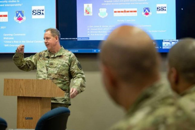 Air Force Lt. Gen. James Heckler conducts a class at the China Aerospace Studies Institute, a research arm of the Air Force which recently received its Defense Department charter. Photo by Melanie Rodgers Cox/U.S. Air Force