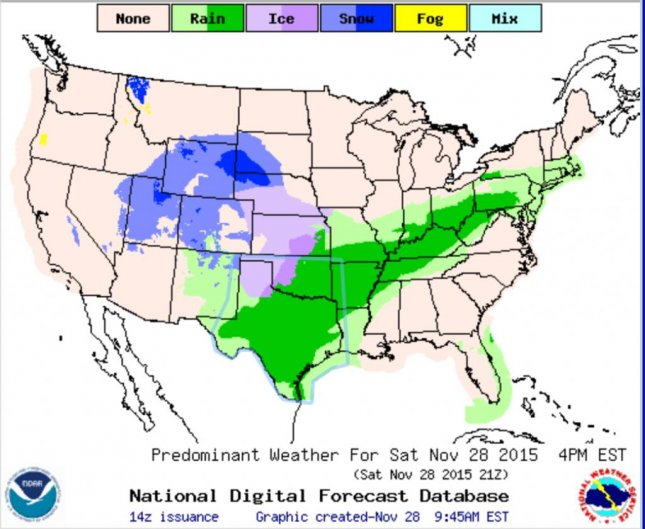 National Weather Service meteorologists say wet weather should be expected through Sunday in parts of the central United States. Image courtesy National Weather Service
