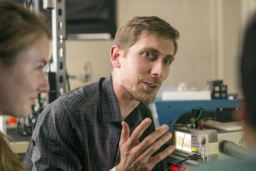 Brett Byram, an assistant professor of biomedical engineering, is developing a helmet that would allow for brain ultrasound imaging. Photo by Daniel Dubois/Vanderbilt University