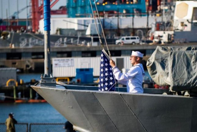 The Union Jack is prepared to fly over the USS Chuing-Hoon at Joint Base Pearl Harbor-Hickam, Hawaii, on Wednesday. Photo courtesy of Adm. John Richardson/Twitter