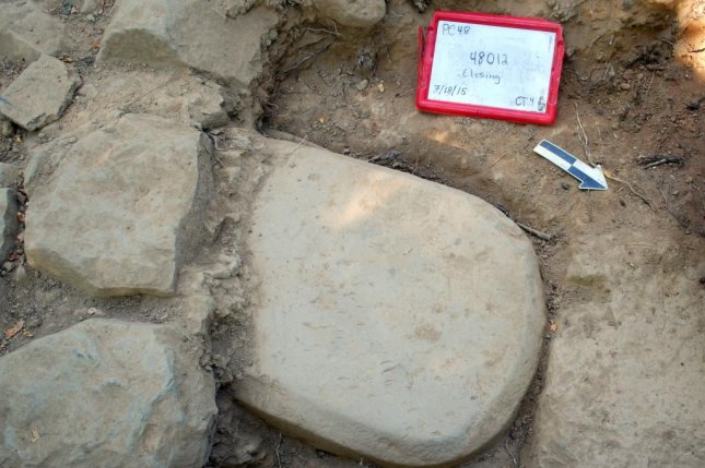 This 500-pound Etruscan sandstone slab was embedded in the foundation of a monumental temple In Italy, where it had been buried for more than 2,500 years. Photo courtesy Mugello Valley Project/SMU