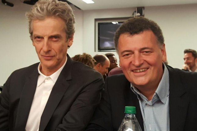 Peter Capaldi and Steven Moffat talk about Doctor Who at 2016 New York Comic Con. Photo by Karen Butler/UPI