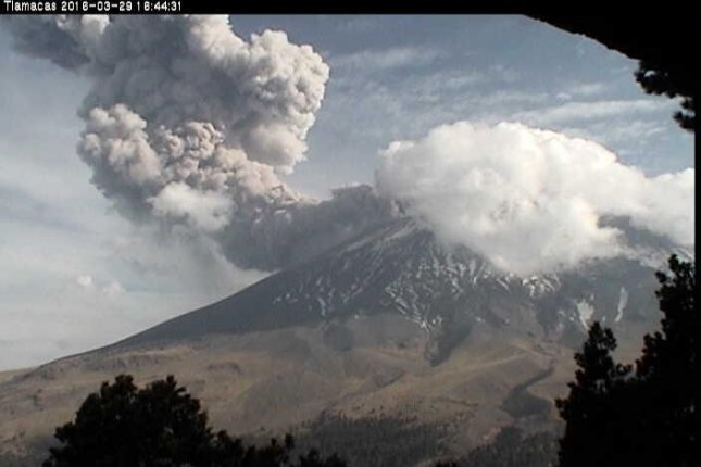 Activity at Mexico's Popocatépetl volcano has increased in the past weeks, leading authorities to raise the alert level in the region to the second level of three. If the alert goes to the third level, a mandatory evacuation order will be issued. Photo courtesy of Mexico's National Center for Disaster Prevention