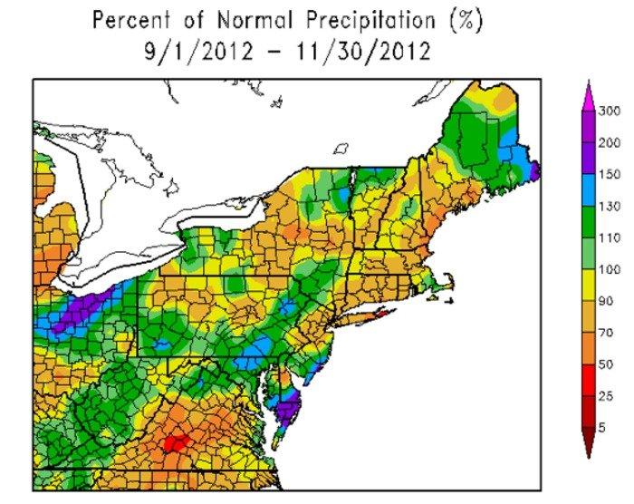 Nov rainfall average well below normal for US Northeast region