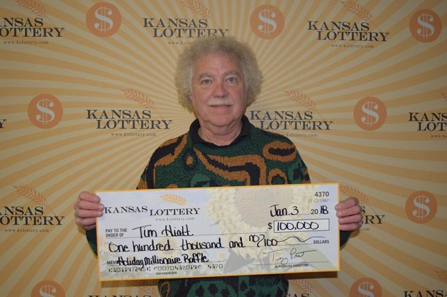A Kansas couple who didn't have time to cash in their $100,000 lottery ticket said they kept the ticket hidden in their freezer for over a month. Photo courtesy of the Kansas Lottery