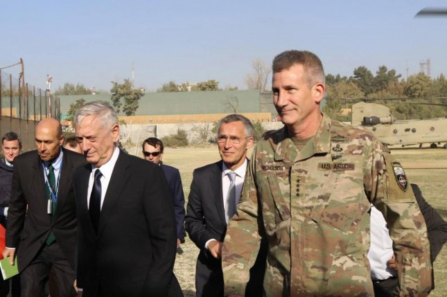 U.S. Defense Secretary James Mattis arrived in Kabul Wednesday shortly before a militant rocket attack. Photo by Egdanis Torres Sierra/EPA
