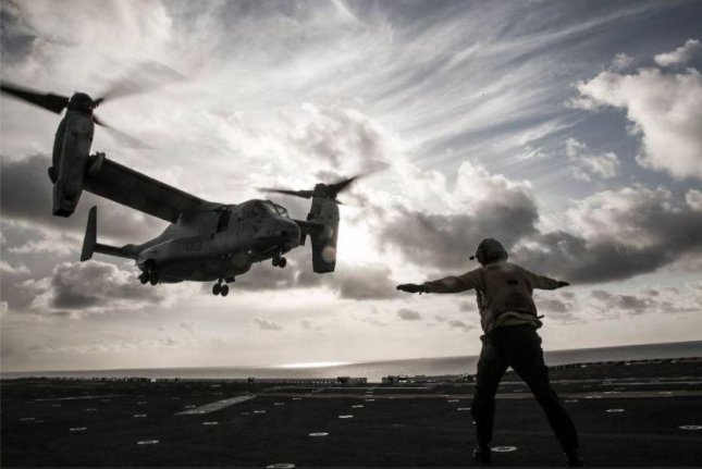 U.S. Navy personnel embedded with U.S. Marines are learning the nuances of flying and maintaining CMV-22B Osprey tiltrotor planes, the Marines announced on Monday. Photo courtesy of Marine MTS 166/Facebook