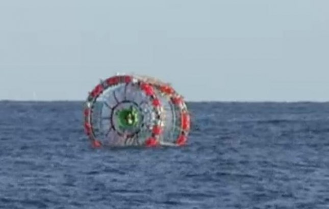 Endurance athlete Reza Baluchi plans to travel from Florida to Bermuda, Haiti, Cuba and Puerto Rico in a man-propelled bubble he calls a hydro-pod. He attempted the voyage once before in 2014 but was rescued by Coast Guards after losing his GPS tracker.  Screen capture/NBC 6