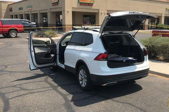 The male suspect was taken into police custody Thursday after being pulled over by officers who were notified of his location by a witness who had spotted his white Volkswagen Tiguan. Photo courtesy of the Peoria Police Department/Facebook