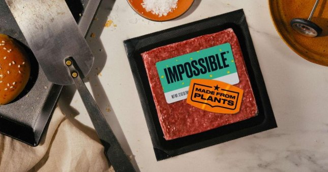 Impossible Foods plant-based burger product is shown in We Are Meat campaign. Photo courtesy of Impossible Foods