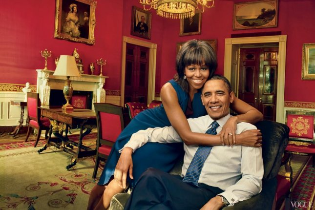 Michelle Obama and President Barack Obama in the Red Room of the White House photographed by Annie Liebovitz for the April issue of Vogue. (Vogue)