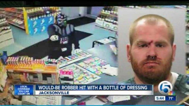 Police say Jacob Mercer, 32, dressed as Darth Vader and attempted to rob a convenience store in Jacksonville Beach, Fla. WPTV video screenshot