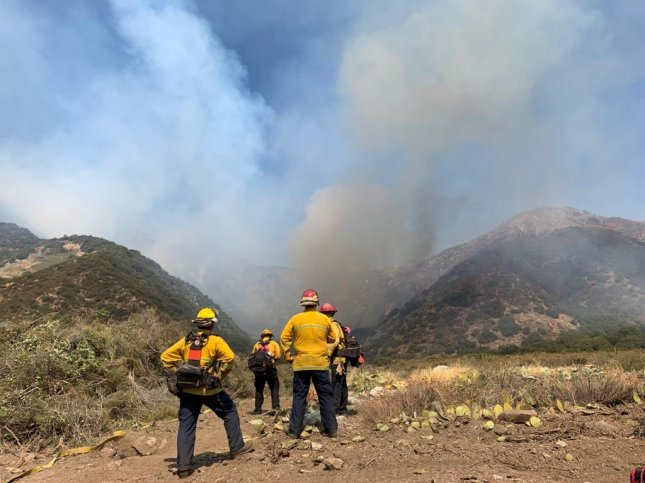 Firefighters have been fighting a fire burning through chaparral and brush in Banning Canyon. Photo courtesy of San Bernadino National Forest