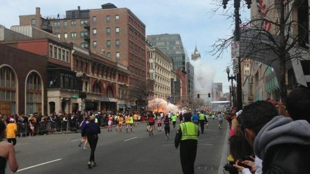 The aftermath of the Boston Marathon finish line explosions. (Courtesy: Dan Lampariello/Twitter)