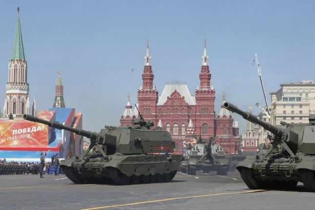 Koalitsiya-SV tanks participate in Russia's Victory Day military parade on May 9 in Red Square, Moscow. File Photo by Sergei Ilnitsky/EPA-EFE