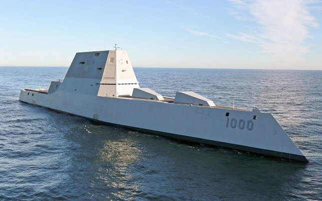 Raytheon has been awarded a contract to provide engineering services to the U.S. Navy's first Zumwalt-class ship, the USS Zumwalt, pictured. Included in the services will be activation and testing of the ship's systems, the Navy announced on Monday. U.S. Navy photo courtesy of General Dynamics Bath Iron Works