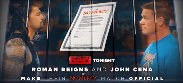 (L-R) Roman Reigns met John Cena in the ring Monday on Raw to sign a contract for a match at upcoming pay-per-view No Mercy. Photo courtesy of WWE/Twitter