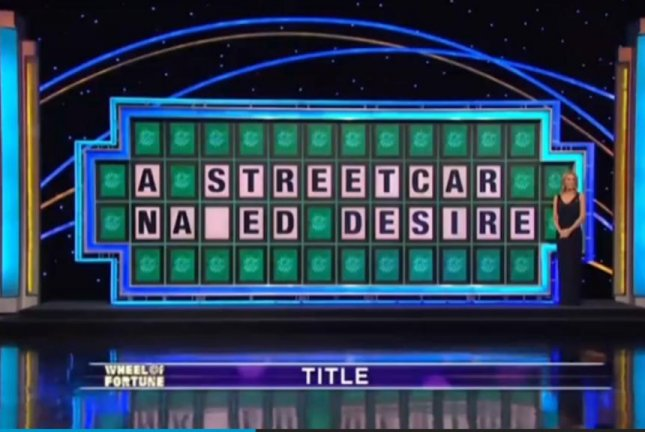 A Wheel of Fortune contestant became a viral star Tuesday night when he flubbed the name of Tennessee Williams' A Streetcar Named Desire. Screenshot: Yahoo!