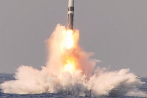 Trident II D5 submarine launched ballistic missile during a test launch. Photo courtesy of the U.S. Navy.