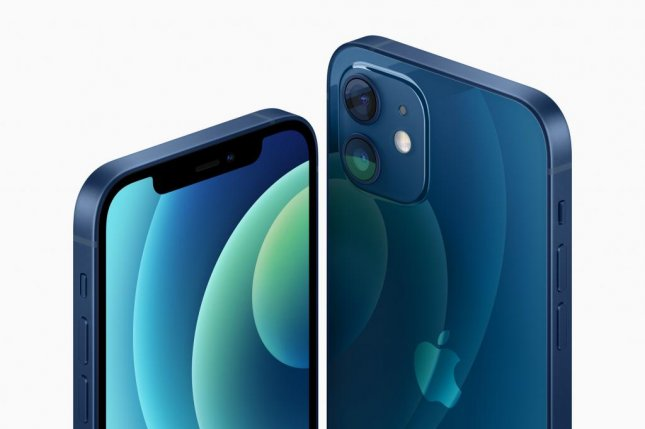 The iPhone 12 and iPhone 12 Mini will come in a blue aluminum finish along with four other colors. Photo courtesy of Apple