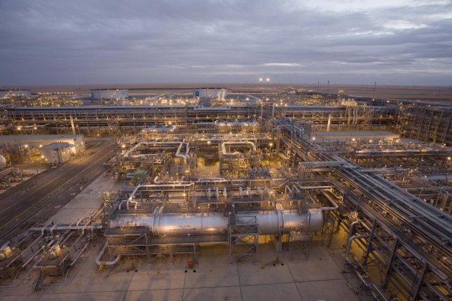 Aramco's Khurais Oil Plant is located 93 southeast of Riyadh, the capital of Saudi Arabia. The oil field, which came online in 2009, provided 1.2 million barrels of oil per day to Saudi Arabia's production capacity, according to Planet.com. Photo courtesy Aramco
