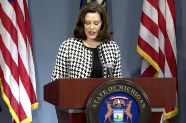Michigan Gov. Gretchen Whitmer said Monday she would take a 10 percent payout and ask her top staff to also take a pay reduction to lead by example during the state budget crisis caused by the coronavirus pandemic. Photo courtesy of Michigan State Police livestream