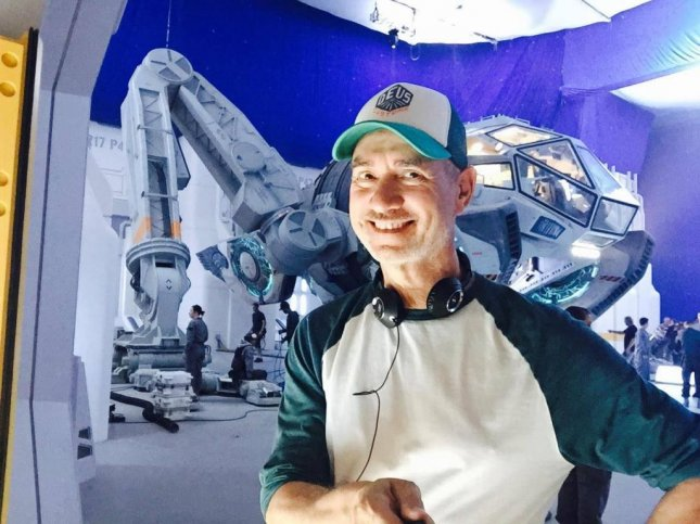 Roland Emmerich shares photo of himself with new Independence Day film's Moon Tug. Photo by Roland Emmerich/Facebook