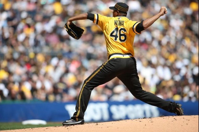 Ivan Nova dominated his former team, the New York Yankees, to earn the victory on Sunday. Photo courtesy Pittsburgh Pirates via Twitter