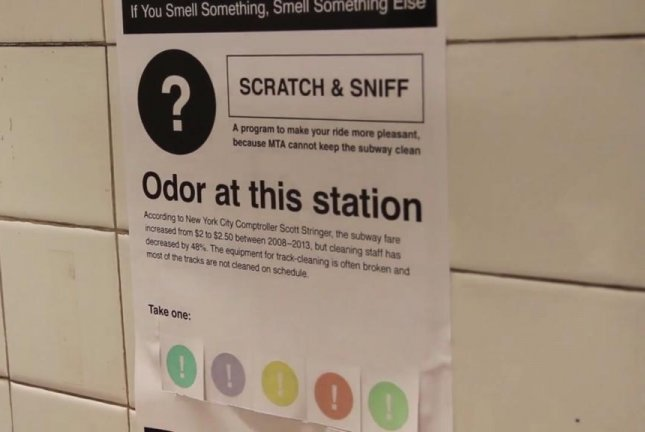 A New York art student put scratch and sniff posters in the city's subway stations to help commuters avoid the foul smells. Screenshot: Angela H Kim/Vimeo
